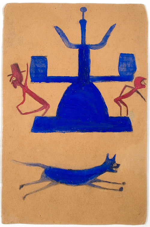 Bill Traylor. <em>Untitled (Blue and Red Construction with Running Dog and Figures),</em> c1939-42. Pencil and tempera on found cardboard, 11¾ x 7¾ in. Ricco Maresca Gallery. Photograph: Miguel Benavides.
