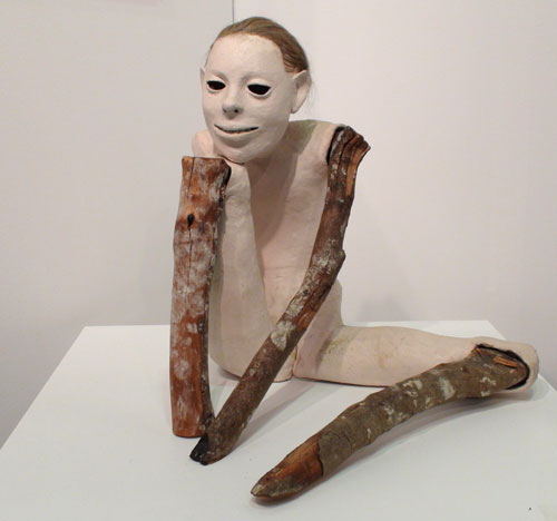 Daisy Youngblood. <em>Watching Girl,</em> 1983. Low fire clay, wood, hair, 15½ x 16½ x 15 in. McKee Gallery. Photograph: Miguel Benavides.