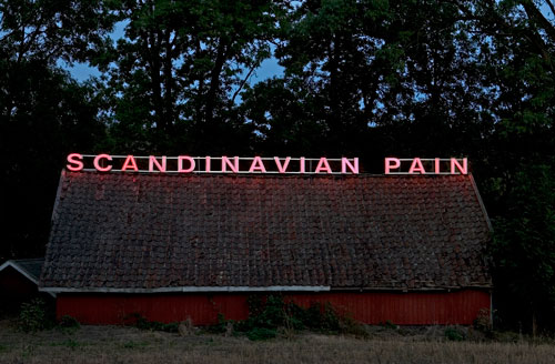 Ragnar Kjartansson. <em>Scandinavian Pain</em>, 2006-12. Neon sign installed in Moss, Norway 2006. Courtesy of the artist, Luhring Augustine and i8 Gallery, Reykjavik.