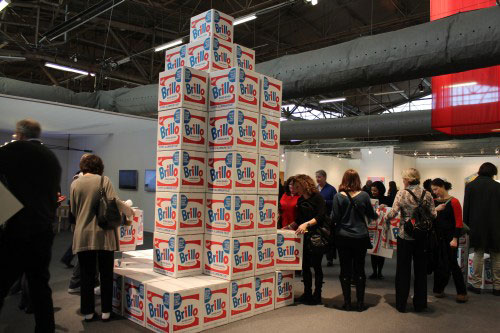 Brillo Boxes. The artist was commissioned to reproduce 1,000 boxes by The Andy Warhol Museum.  250 boxes were given away each day. Photograph: Rosa Lopez.