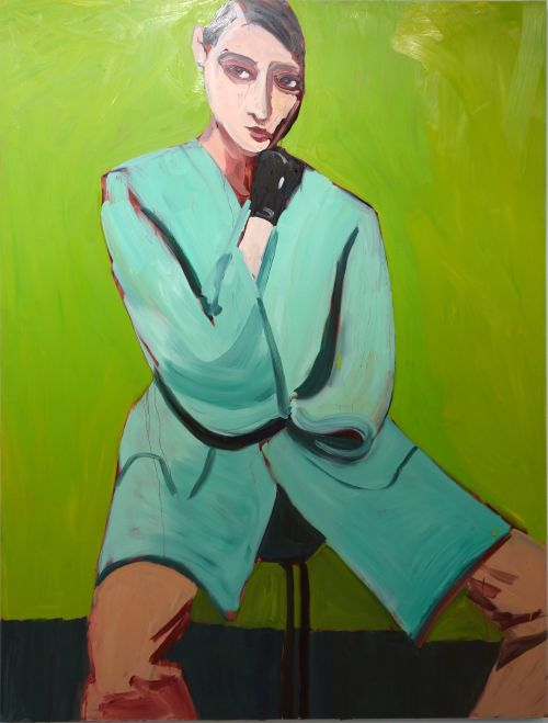 Chantal Joffe. Woman in a Blue Coat on Green, 2014. Oil on board on aluminum frame. 244 x 182.5 x 6 cm. Victoria Miro.
