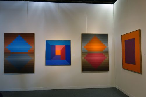 Karl Benjamin. #12, 1983; #7, 1974; #20, 1982. Oil on canvas. Louis Stern Fine Arts.