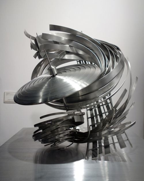 Alice Aycock. The Riddle of the Flying Saucer #1, 2015. Aluminium. 24 x 23 x 24 on 24 in square base. Fredric Snitzer.