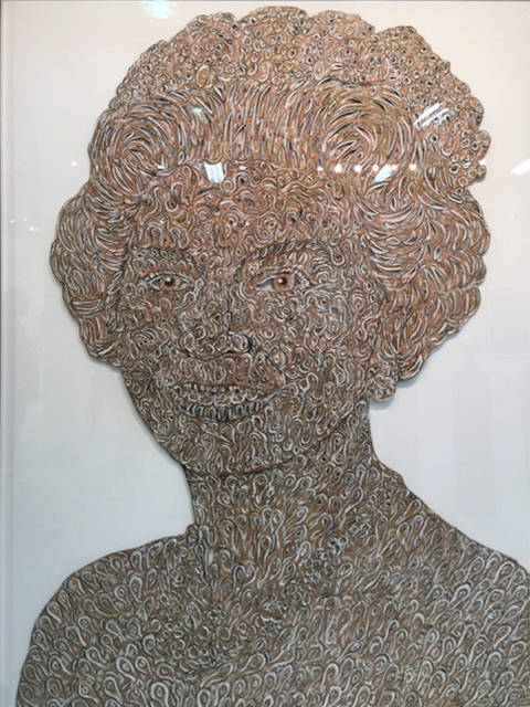 Hew Locke. Happy Queen, 2003. Cut cardboard, lead with paint and ink, 88 5/8 x 63 in. Hales London. Photograph: Jill Spalding.