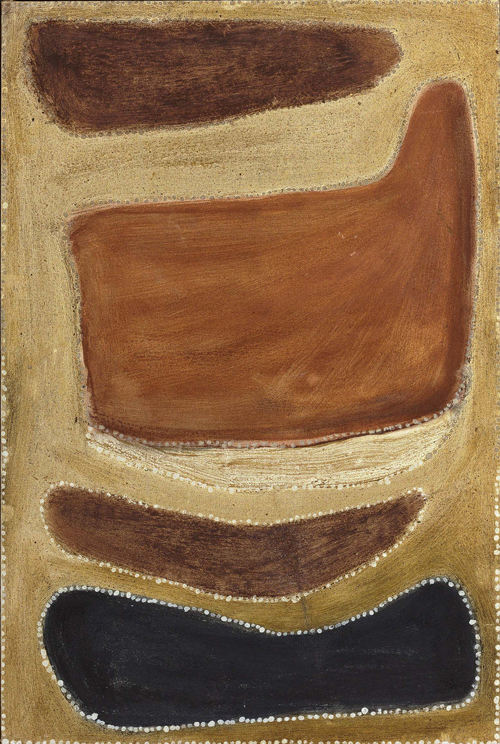 <p>Rover Thomas. <em>Two men dreaming</em>, c1985. Natural pigments on canvas board, 91 x 61 cm.
