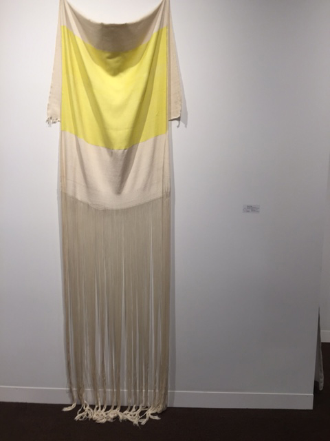 Francis Trombly. Yellow Rayon with Canvas, 2015. Hand dyed,handwoven rayon and cotton. 98 x 33.5 x 3 inches. Emerson Borsch. Photograph: Jill Spalding