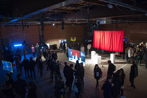 Eyebeam's exhibition opening. Photograph courtesy of Eyebeam Art + Technology Center.