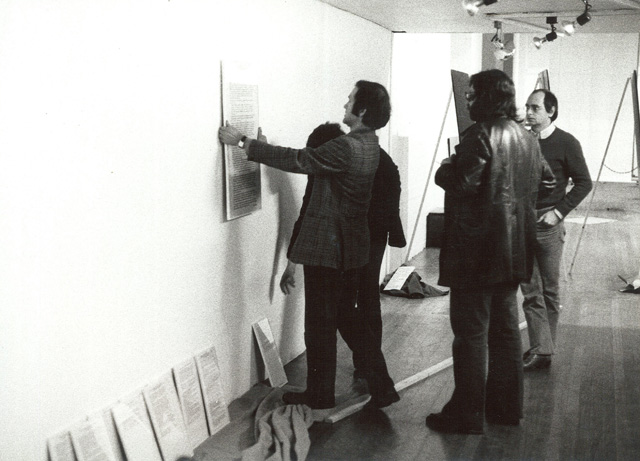 Exhibition installation (left to right: Hans Haacke, Christos Joachimides, KP Brehmer), ICA, 1974. Photography © Gerald Incandela.