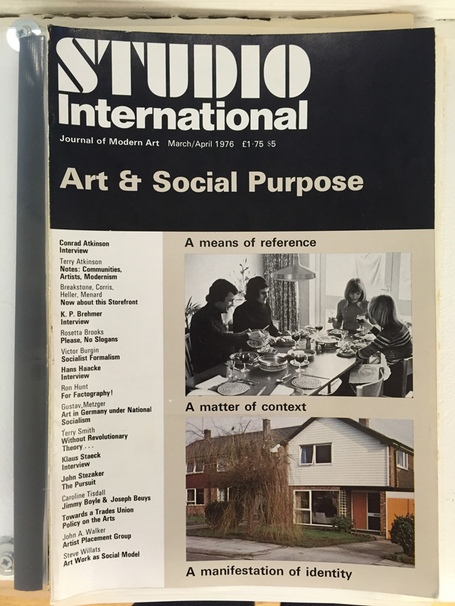 Studio International, Art & Social Purpose, cover, March/April 1976. © Studio International.