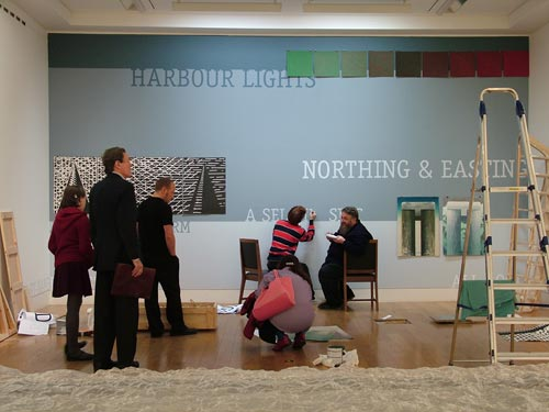 Arthur Watson. <em>Northing and Easting</em>. Installing the exhibition 'The Sea'. Left to right: Michael Spens (Studio International), Colin Greenslade (RSA Programme Director), Janet McKenzie (Studio International), with David Maclean and Arthur Watson