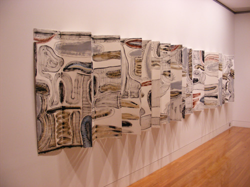Helen Geier. <em>Split Rocks</em>, 2008. Paper, gesso, watercolour. 915 cm x 113 cm.