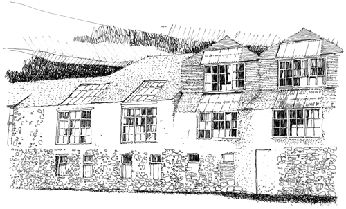 Long & Kentish. Drawing of Porthmeor Studios, St Ives.