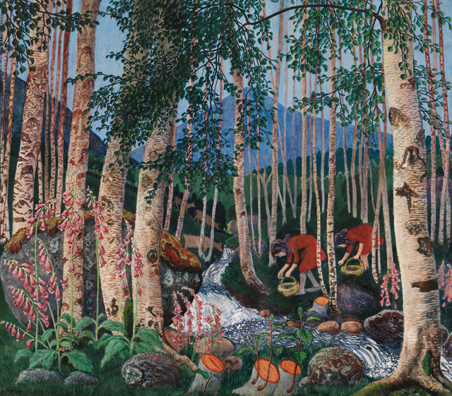 Nikolai Astrup. Foxgloves, 1927. Colour woodcut on paper, 70 x 78 cm. The Savings Bank Foundation DNB/The Astrup Collection/KODE Art Museums of Bergen. Photograph © Anders Bergersen.