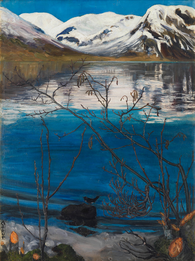 Nikolai Astrup. March Atmosphere at Jølstravatnet, Before 1908. Oil on canvas, 75 x 57 cm. Private collection, Oslo. Photograph © Anders Bergersen.