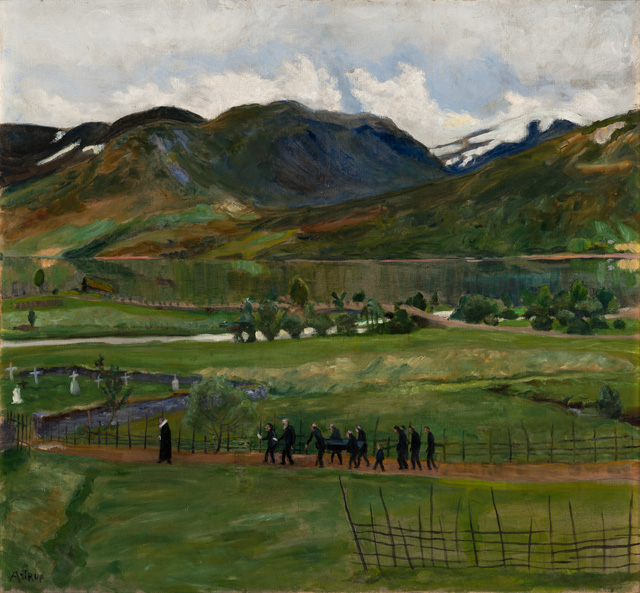 Nikolai Astrup. Funeral Day in Jølster, before 1908. Oil on canvas, 68 x 73 cm. The Savings Bank Foundation DNB/The Astrup Collection/KODE Art Museums of Bergen. Photograph © Dag Fosse/KODE.