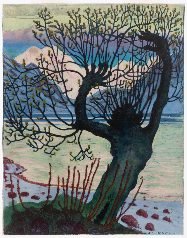Nikolai Astrup. Spring Night and Willow, 1917/after 1920. Colour woodcut on paper, 35.1 x 27.7 cm. The Savings Bank Foundation DNB/The Astrup Collection/KODE Art Museums of Bergen.