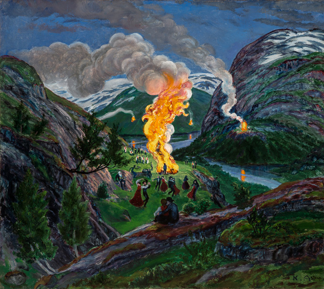 Nikolai Astrup. Midsummer Eve Bonfire, After c1917. Oil on canvas, 60 x 66 cm. The Savings Bank Foundation DNB/The Astrup Collection/KODE Art Museums of Bergen.