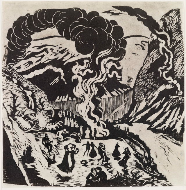 Nikolai Astrup. Midsummer Eve Bonfire, After 1917. Black and white woodcut on paper, 34.5 x 34 cm approx. Private collection.
