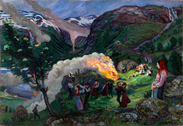 Nikolai Astrup. Midsummer Eve Bonfire, Before 1915. Oil on canvas, 136 x 196 cm. The Savings Bank Foundation DNB/The Astrup Collection/KODE Art Museums of Bergen.