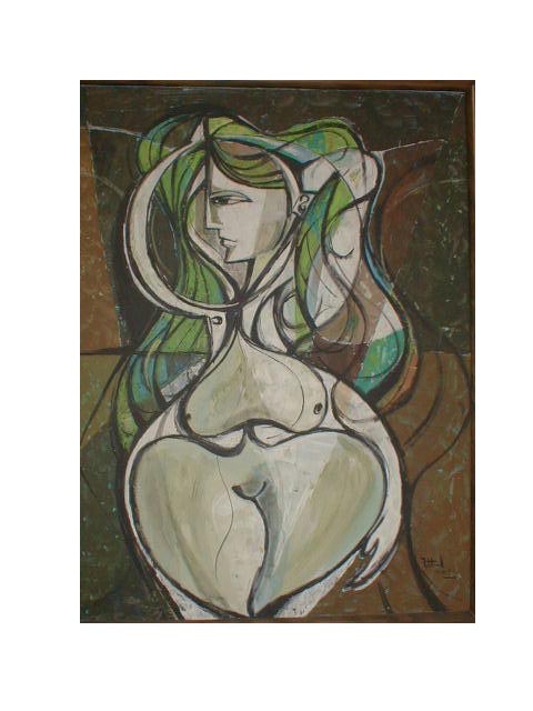 Norbert Francis Attard. Goddess of Fertility, acrylic on canvas, 1970.
