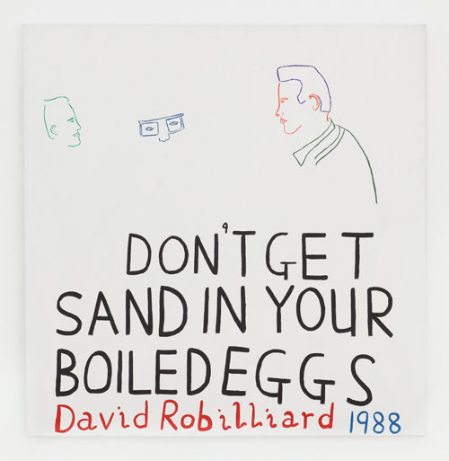 David Robilliard. Don't Get Sand in Your Boiled Eggs, 1988. Acrylic on canvas. Photograph: Paul Knight. Courtesy private collection, Berlin. © The Estate of David Robilliard. All rights reserved. DACS 2014.