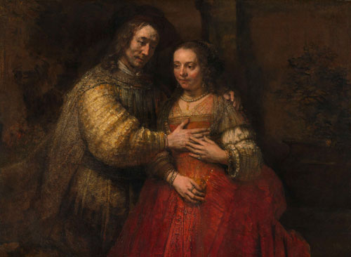 Rembrandt Harmenszoon van Rijn. Isaac and Rebecca, known as 'The Jewish Bride', c1665–69. Oil on canvas, 121.5cm x 166.5 cm.