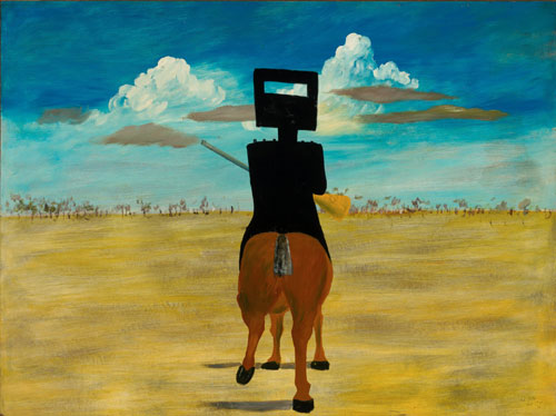 Sidney Nolan. Ned Kelly, 1946. Enamel on composition board, 90.8 x 121.5 cm. National Gallery of Australia, Canberra.