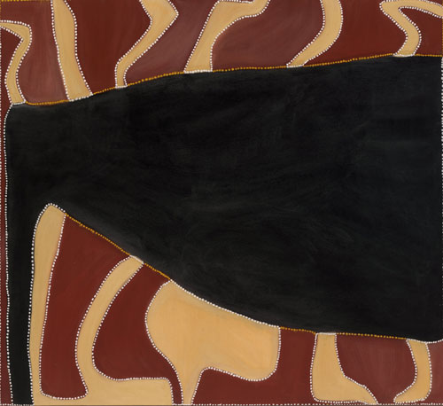 Rover Thomas. Cyclone Tracy, 1991. Natural earth pigments and binder on canvas, 168 x 180 cm. National Gallery of Australia, Canberra, purchased 1991. © the artist's estate courtesy Warmun Art Centre