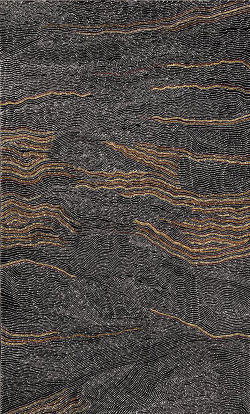 Dorothy Napangardi. Sandhills of Mina Mina, 2000. Synthetic polymer paint on canvas, 198 x 122 cm. National Gallery of Australia, Canberra. Purchased 2001. © Dorothy Napangardi. Licensed by Viscopy/DACS