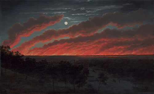 Eugene von Guérard. Bush Fire, 1859. Oil on canvas, 34.8 x 56.3 cm. Art Gallery of Ballarat. Gift of Lady Currie in memory of her husband, the late Sir Alan Currie, 1948.
