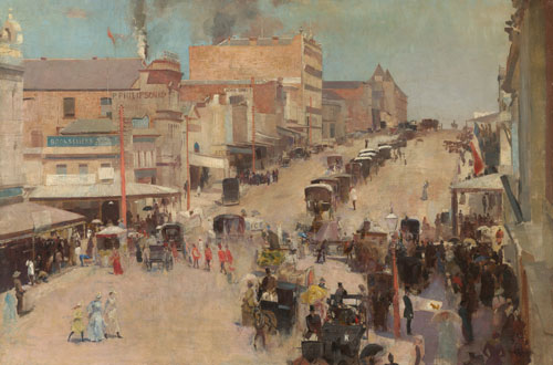 Tom Roberts. Allegro con brio: Bourke Street west c.1885-86, reworked 1890. Oil on canvas on composition board, 51.2 x 76.7 cm. National Gallery of Australia, Canberra and the National Library of Australia, Canberra. Purchased 1918.