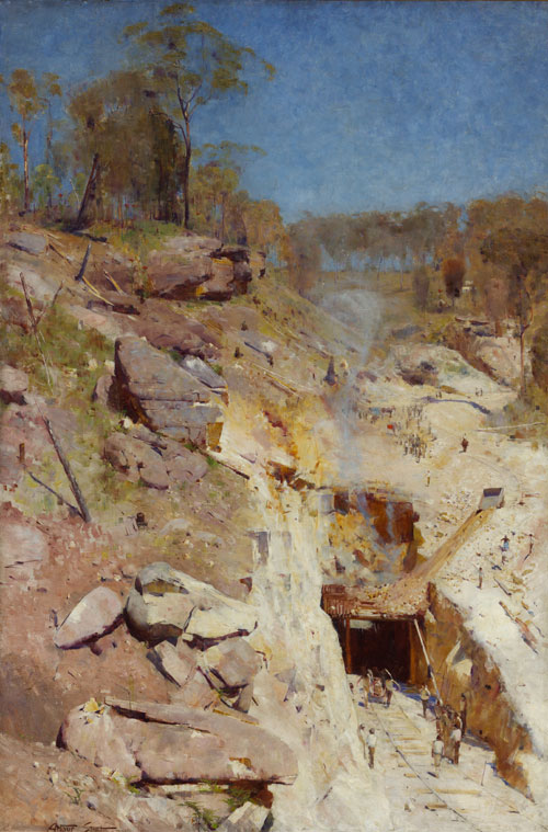 Arthur Streeton. 'Fire's On', 1891. Oil on canvas, 183.8 x 122.5 cm. Art Gallery of New South Wales, purchased 1893.