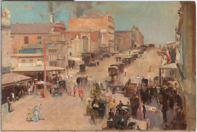 Tom Roberts. Allegro con brio, Bourke Street West, about 1885-6, reworked 1890. Oil on canvas mounted on composition board, 51.2 × 76.7 cm. National Gallery of Australia, Canberra and the National Library of Australia, Canberra. Purchased 1920 by the Parliamentary Library Committee. © National Gallery of Australia, Canberra and the National Library of Australia, Canberra.