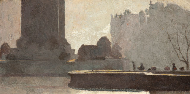Tom Roberts. Trafalgar Square, 1904. Oil on cardboard, 14 × 28 cm. Art Gallery of South Australia, Adelaide. South Australian Government Grant 1988. © Art Gallery of South Australia, Adelaide.