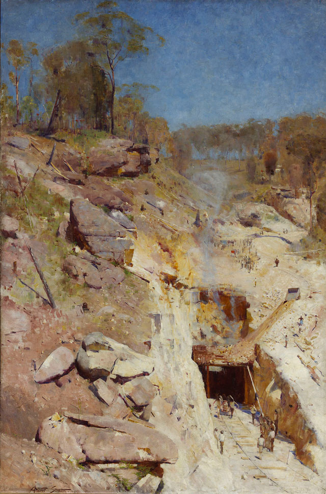 Arthur Streeton. Fire's On, 1891. Oil on canvas, 183.8 × 122.5 cm. Art Gallery of New South Wales, Sydney. Purchased 1893. © AGNSW.