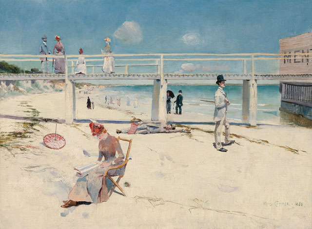 Charles Conder. A Holiday at Mentone, 1888. Oil on canvas, 46.2 x 60.8 cm. Art Gallery of South Australia, Adelaide. South Australian Government Grant with the assistance of Bond Corporation Holdings Limited through the Art Gallery of South Australia Foundation to mark the Gallery's Centenary 1981. © Art Gallery of South Australia, Adelaide.
