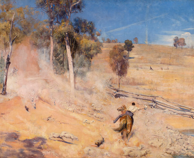 Tom Roberts. A Break Away!, 1891. Oil on canvas, 137.3 x 167.8 cm. Art Gallery of South Australia, Adelaide. Elder Bequest Fund 1899. © Art Gallery of South Australia, Adelaide.