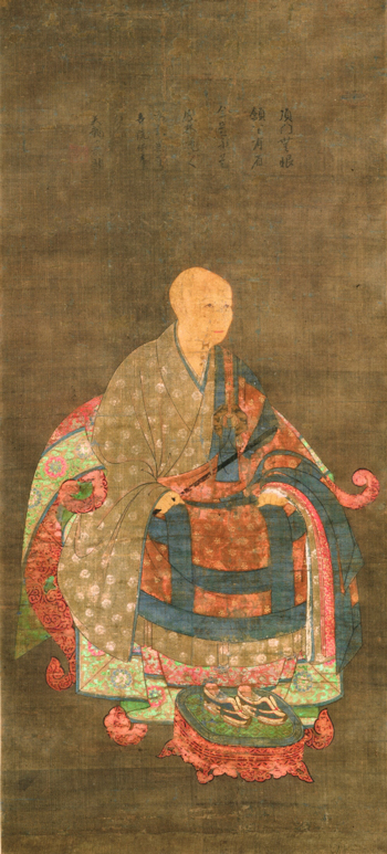 <em>Portrait of Shun'oku Myoha</em>. Painter unknown. Japanese, Nanbokucho period (1336-1392), ca. 1382-1383. Hanging scroll, ink and colors on silk; 114.3 x 52.0 cm. Collection of Sylvan Barnet and William Burto. Courtesy of Sylvan Barnet and William Burto.