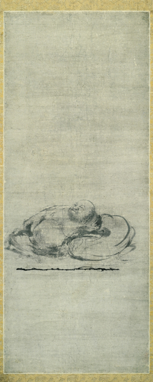 <em>Slumbering Budai</em>. Attributed to Muqi (act. mid- to late 13th c.). Chinese, Southern Song dynasty (1127–1279), 13th c. Hanging scroll, ink on paper; 77.1 x 30.9 cm. Kyoto National Museum. Courtesy of Agency for Cultural Affairs of Japan.