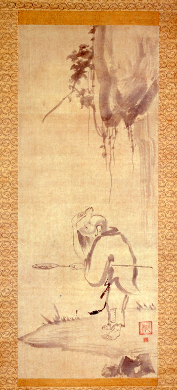 <em>The Shrimp Eater</em>. Kao (act. first half of 14th c.). Japanese, Nanbokucho period (1336–1392). Hanging scroll, ink on paper; 87.0 x 34.5 cm. Tokyo National Museum. Important Cultural Property. Courtesy of Tokyo National Museum and Agency for Cultural Affairs of Japan.