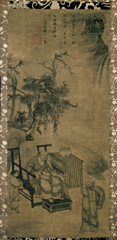 <em>Encounter Between Xuansha and Xuefeng</em>. Attributed to Muqi (act. mid- to late 13th c.). Inscribed by Yuji Zhihui (act. ca. 1298). Chinese, Yuan dynasty (1279–1368), late 13th c. Hanging scroll, ink on silk; 102.0 x 46.0 cm. Kyoto National Museum. Important Cultural Property. Courtesy of Kyoto National Museum.