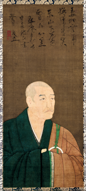 <em>Portrait of Mokuan Shuyu</em>. Painter unknown. Japanese, Nanbokucho period (1336–1392), 1373. Hanging scroll, ink and colors on silk; 108.0 x 47.5 cm. Kyoto National Museum. Important Cultural Property. Photo: Kanai Morio; courtesy of Kyoto National Museum.