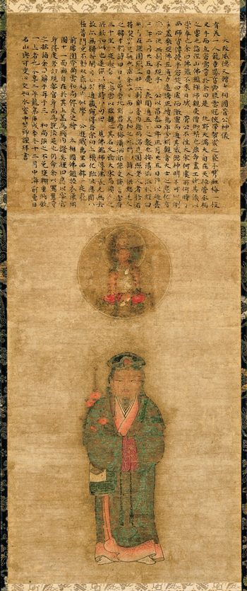 <em>Tenjin Visiting China</em>. Painter unknown. Inscribed by Yoka Shinko (d. 1437). Japanese, Muromachi period (1392–1573), 1430. Hanging scroll, ink and colors on paper; 88.2 x 36.3 cm. Horai Collection LLC. Courtesy of Horai Collection LLC.