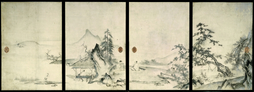 <em>The Four Gentlemanly Accomplishments</em>. Oguri Sokei (act. late 15th–early 16th c.). Japanese, Muromachi period (1392–1573), 16th c. Eight sliding-door panels (in two sets of four), ink and light colors on paper; 171.0 x 117.5 cm (each, first set); 169.5 x 91.2 cm (each, second set). Kyoto National Museum. Important Cultural Property. Photo: Kanai Morio; courtesy of Kyoto National Museum.