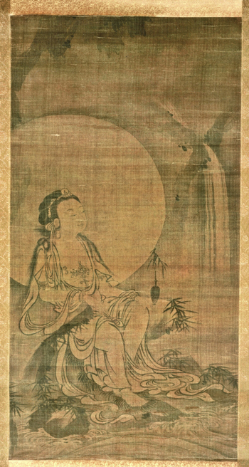 <em>White-Robed Kannon</em>. Attributed to Yue Hu (act. 14th c.). Japanese, Muromachi period (1392–1573), 15th c. Hanging scroll, ink on silk; 180.6 x 57.2 cm. Asia Society, New York: Mr. and Mrs. John D. Rockefeller 3rd Collection, partial gift of Rosemarie and Leighton Longhi in honor of Sherman Lee, 1998.001. Photograph by Carl Nardiello, courtesy of the Asia Society.