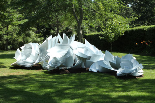 Alice Aycock. Maelstrom (Module 3), 2013. Painted aluminum; 6' tall x 30' wide x 30' long. Edition of 2. The sculpture is part of the full scale Maelstrom. Temporary installation at LongHouse Reserve, East Hampton, NY, July-Oct. 2013.