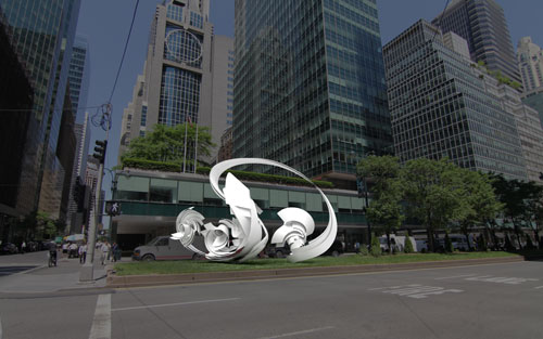 "Alice Aycock. Hoop-La, 2013. Painted aluminum, 18' high x 16'6"" wide x 24' long. Edition of 2. To be installed at 53rd street in Spring 2014. Courtesy Alice Aycock / PAPC & Galerie Thomas Schulte, Berlin. Rendering."