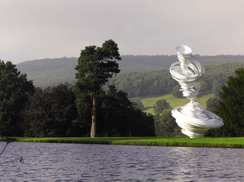 "Alice Aycock. Cyclone Twist, 2013. Painted aluminum, Approximately 27' high x 14'6"" wide x 13'6"" long. Edition of 2. To be installed at 57th street in Spring 2014. Temporarily installed at ""Beyond the Limits: Sotheby's at Chatsworth,"" Derbyshire, UK, September 2013. Courtesy Alice Aycock / PAPC & Galerie Thomas Schulte, Berlin. Reproduced by permission of Sotheby's."