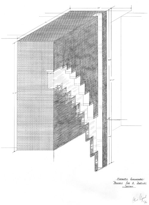 Alice Aycock. Masonry Enclosure: Project for a Doorway – Section, 1976. Graphite on tracing paper, 34 ¼ x 24 in. National Gallery, Washington, DC, Gift of Werner Kramarsky.