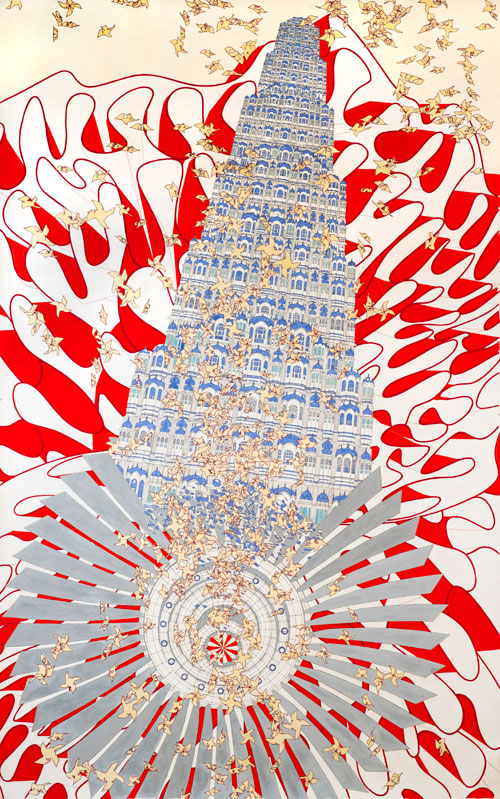 Alice Aycock. Rock, Paper, Scissors (India '07), 2010. Watercolour and ink on paper, 95 11/16 x 59 ½ in. Miami Art Museum, Gift of Jerry Lindzon, FL.